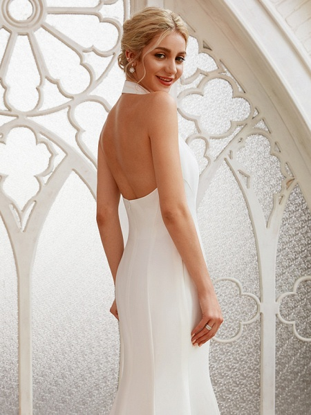 Sheath \ Column Wedding Dresses Halter Neck Court Train Chiffon Satin Regular Straps Simple Backless Elegant_7