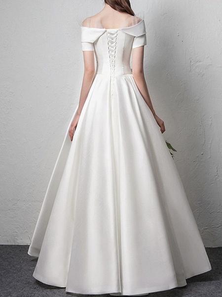 A-Line Wedding Dresses Off Shoulder Floor Length Satin Short Sleeve Beach_3