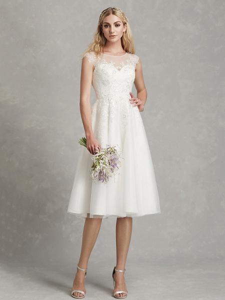 A-Line Wedding Dresses Jewel Neck Tea Length Lace Tulle Cap Sleeve Beautiful Back_3
