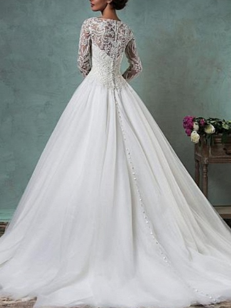 A-Line Wedding Dresses Jewel Neck Sweep \ Brush Train Lace Tulle Long Sleeve Glamorous Backless Illusion Sleeve_2