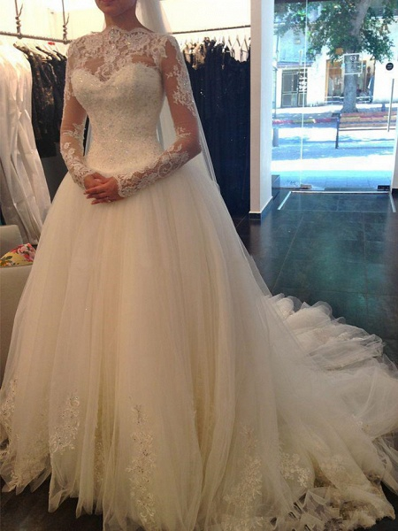 A-Line Wedding Dresses Jewel Neck Court Train Lace Tulle Long Sleeve Formal Sexy_1