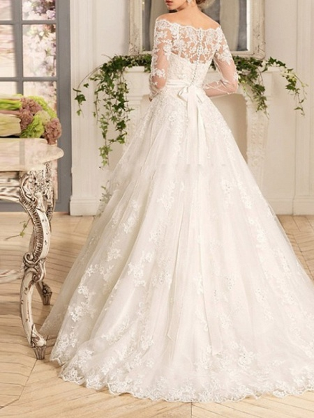 A-Line Wedding Dresses Off Shoulder Court Train Tulle Long Sleeve Romantic See-Through Backless Illusion Sleeve_2