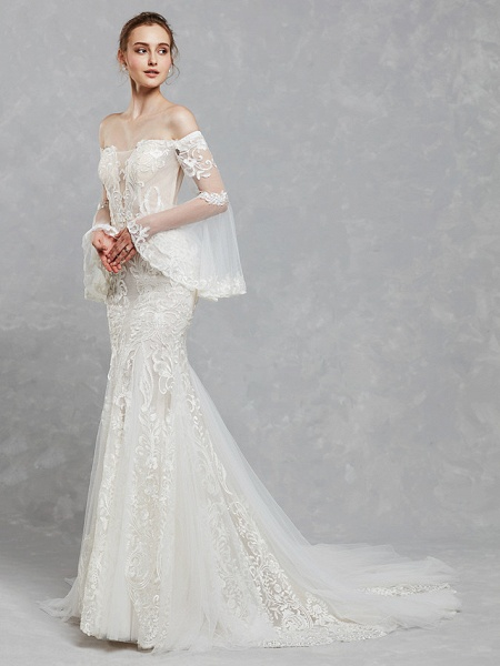 Mermaid \ Trumpet Off Shoulder Court Train Lace Tulle Long Sleeve Romantic Boho See-Through Backless Illusion Sleeve Wedding Dresses_7