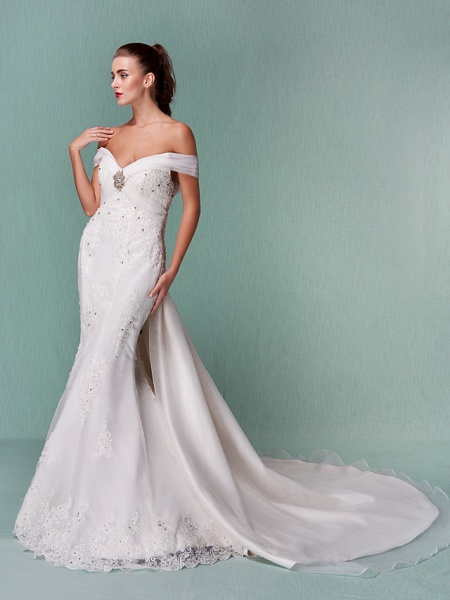 Mermaid \ Trumpet Wedding Dresses Off Shoulder Chapel Train Organza Short Sleeve_6