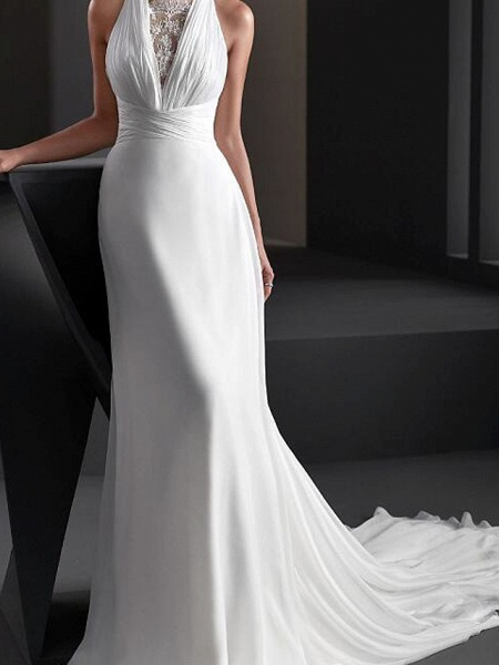 A-Line Wedding Dresses Halter Neck Sweep \ Brush Train Chiffon Sleeveless Country Plus Size_2