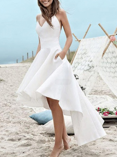 A-Line Wedding Dresses V Neck Spaghetti Strap Asymmetrical Satin Sleeveless Simple Little White Dress 1950s_1