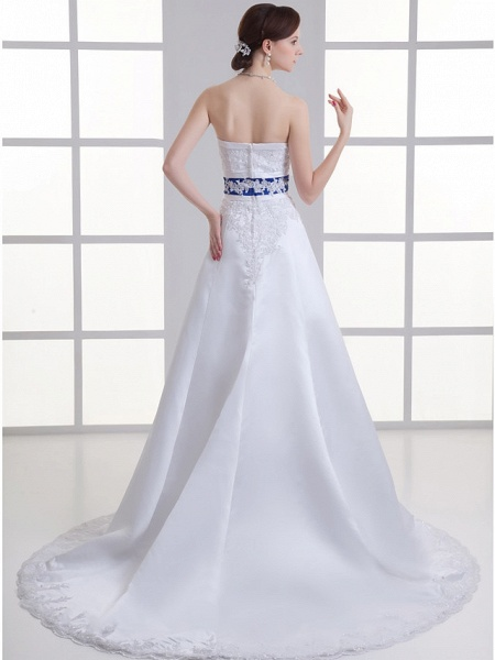 A-Line Strapless Court Train Lace Satin Strapless Wedding Dresses_4
