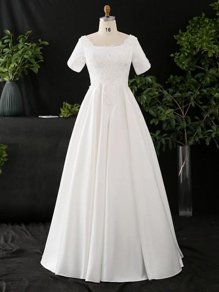 A-Line Wedding Dresses Scoop Neck Floor Length Satin Half Sleeve Formal Elegant_1