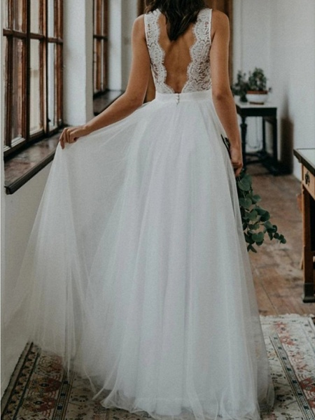 A-Line Wedding Dresses V Neck Sweep \ Brush Train Lace Tulle Sleeveless Beach Boho Sexy_2