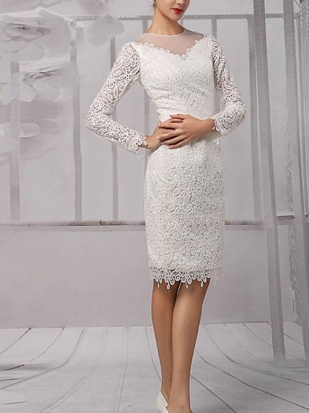 Sheath \ Column Wedding Dresses Jewel Neck Knee Length Lace Tulle Long Sleeve Vintage 1950s_2