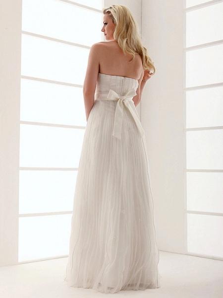 Sheath \ Column Wedding Dresses Strapless Floor Length Organza Sleeveless_9