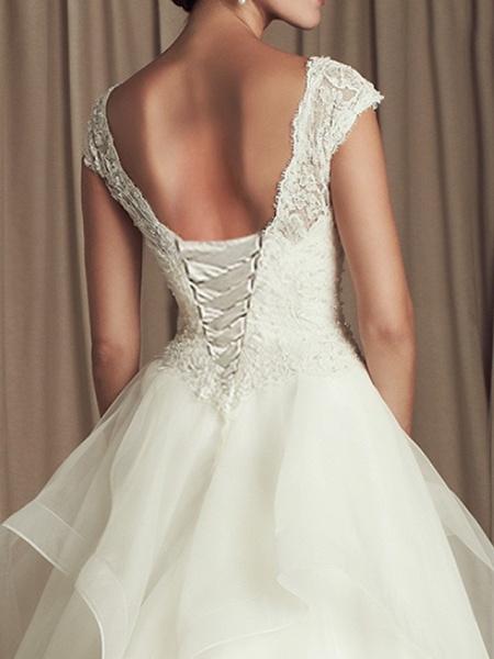 A-Line Wedding Dresses V Neck Sweep Train Lace Cap Sleeve Beach_3