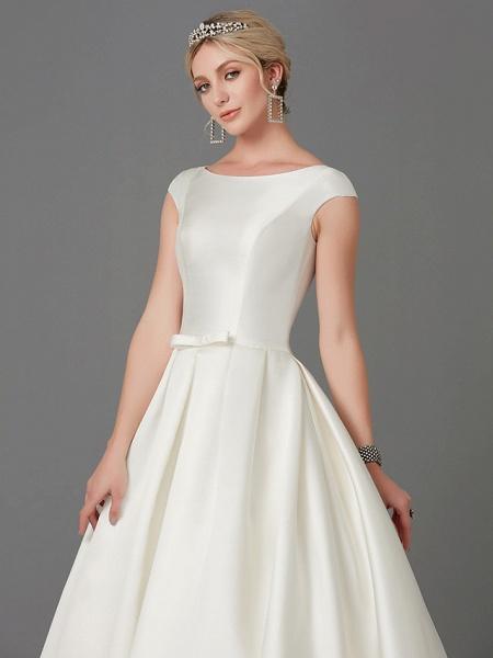 Princess Wedding Dresses Bateau Neck Court Train Satin Short Sleeve_8