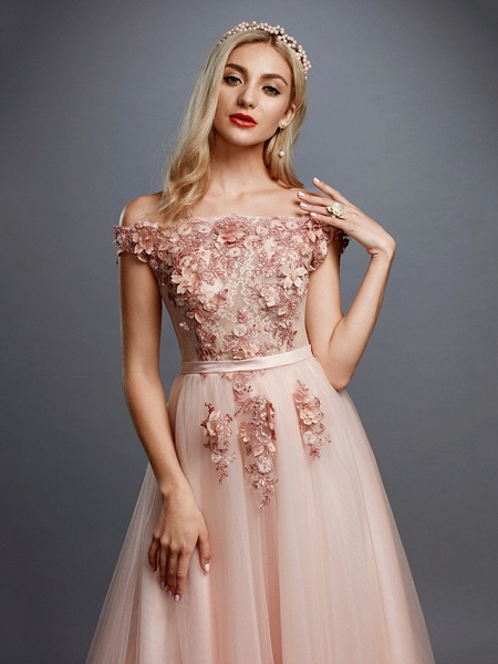 A-Line Floral Pink Prom Formal Evening Dress Off Shoulder Sleeveless Sweep \ Brush Train Tulle Over Lace_4