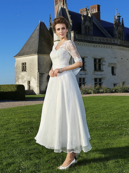 A-Line Wedding Dresses V Neck Ankle Length Organza Sheer Lace Half Sleeve Country Casual Vintage See-Through Illusion Sleeve_3