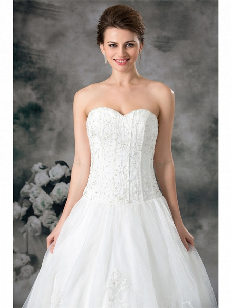 A-Line Sweetheart Neckline Court Train Organza Satin Strapless Plus Size Wedding Dresses_5