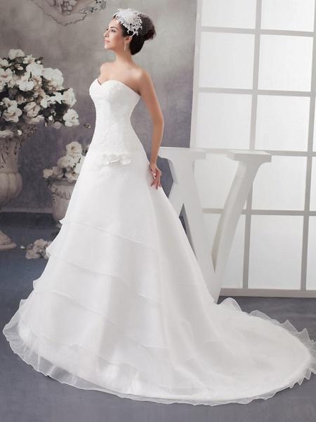 A-Line Sweetheart Neckline Chapel Train Organza Satin Strapless Wedding Dresses_2