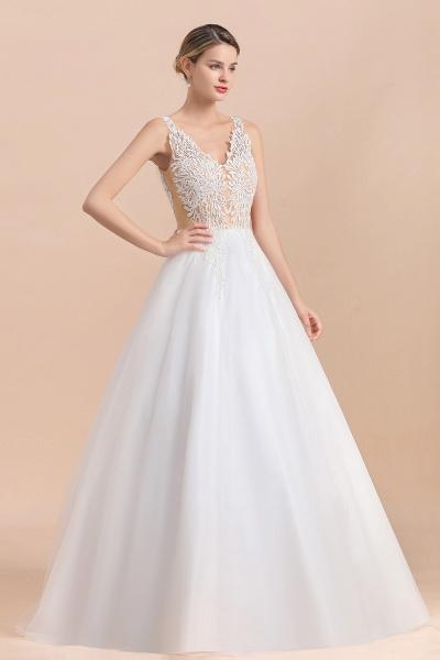 Elegant Sleeveless A-line Floral Appliques Wedding Dress_5