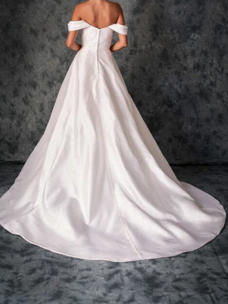 A-Line Wedding Dresses Off Shoulder Sweep \ Brush Train Chiffon Over Satin Short Sleeve Country Plus Size_2