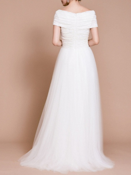 A-Line Wedding Dresses Off Shoulder Sweep \ Brush Train Tulle Short Sleeve Vintage Sexy Wedding Dress in Color Backless_2