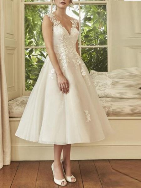 A-Line Wedding Dresses V Neck Midi Lace Tulle Regular Straps Formal Casual Vintage Illusion Detail Backless_1