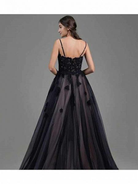 A-Line Wedding Dresses Sweetheart Neckline Floor Length Lace Satin Tulle Spaghetti Strap Black Modern_3