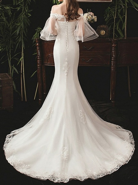 Mermaid \ Trumpet Wedding Dresses Off Shoulder Sweep \ Brush Train Lace Half Sleeve Beach_3
