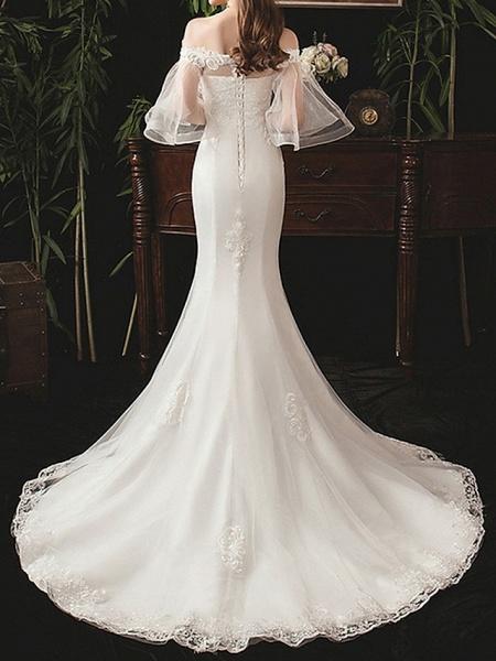 Mermaid \ Trumpet Wedding Dresses Off Shoulder Sweep \ Brush Train Lace Half Sleeve Beach_3