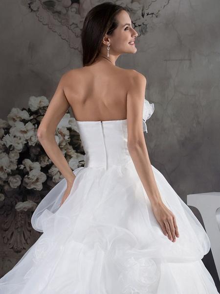 A-Line Strapless Chapel Train Organza Satin Strapless Wedding Dresses_5