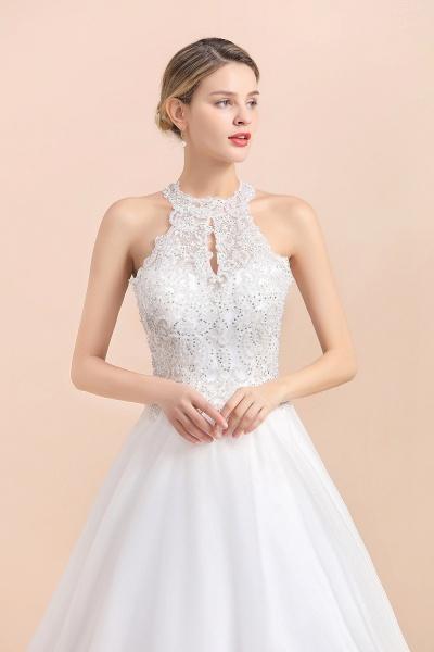 Halter Lace Appliques A-line Sleeveless Wedding Dress_3