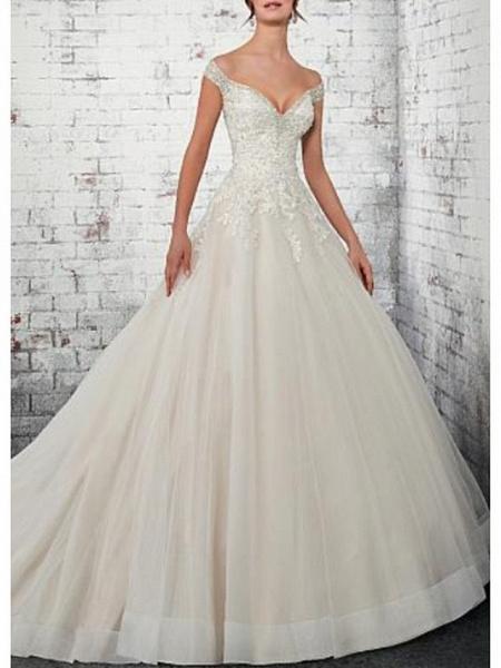 A-Line Wedding Dresses Off Shoulder Court Train Lace Tulle Cap Sleeve_1