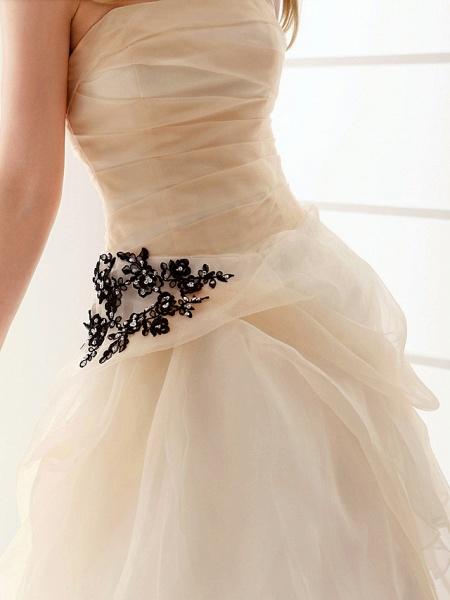 Princess A-Line Wedding Dresses Strapless Floor Length Organza Sleeveless Wedding Dress in Color_6