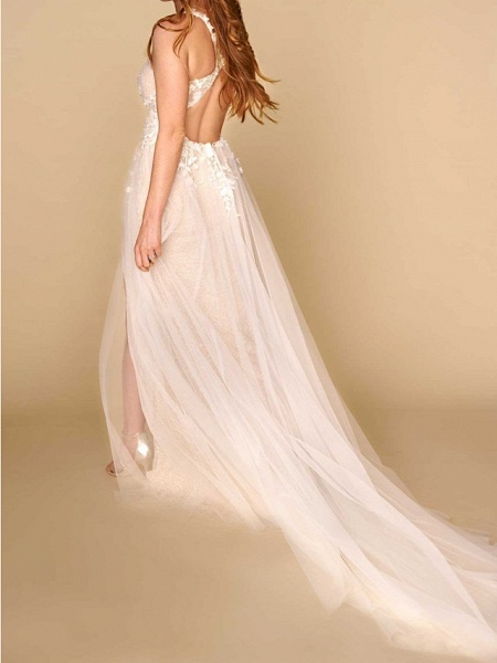 A-Line Plunging Neck Court Train Lace Sleeveless Country Plus Size Wedding Dresses_2