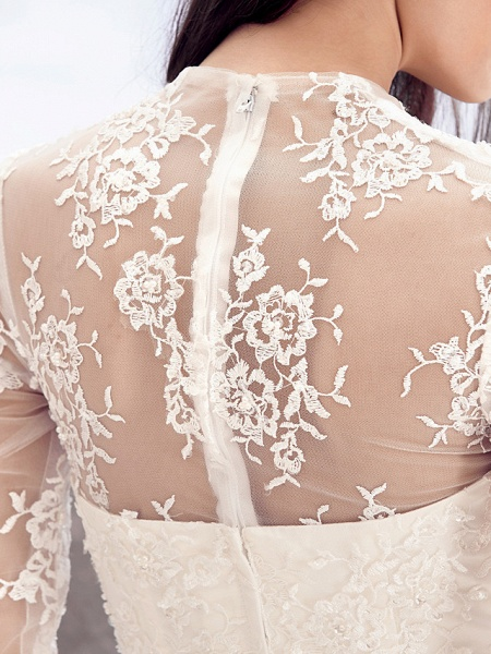 A-Line V Neck Chapel Train Lace Over Satin Long Sleeve Vintage Illusion Sleeve Wedding Dresses_8
