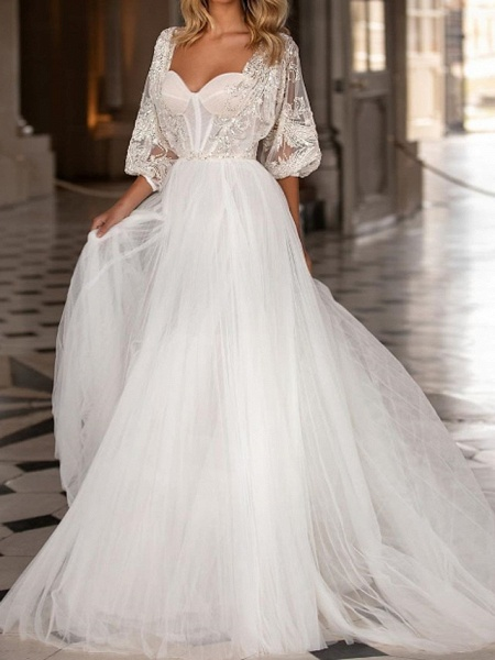 A-Line Wedding Dresses Scoop Neck Sweep \ Brush Train Polyester 3\4 Length Sleeve Country Plus Size_1