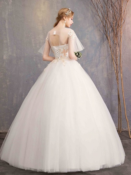 Ball Gown Wedding Dresses Bateau Neck Maxi Lace Tulle Short Sleeve Glamorous See-Through Backless_5