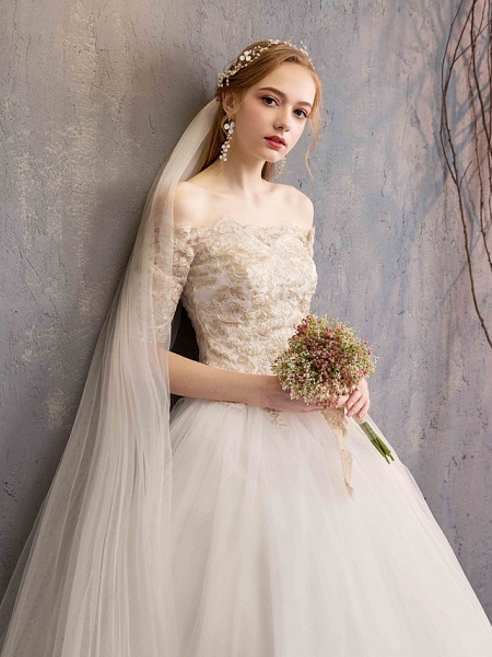Ball Gown Wedding Dresses Off Shoulder Floor Length Tulle Lace Over Satin Half Sleeve Glamorous Illusion Detail_7