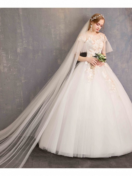 Ball Gown Wedding Dresses Bateau Neck Maxi Lace Tulle Short Sleeve Glamorous See-Through Backless_9