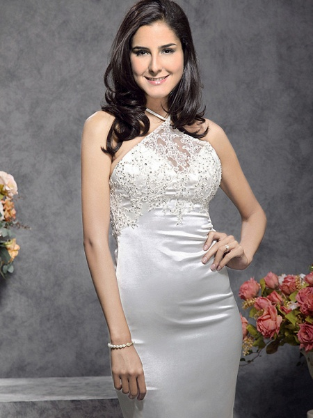 Mermaid \ Trumpet Wedding Dresses Halter Neck Court Train Stretch Satin Sleeveless_2