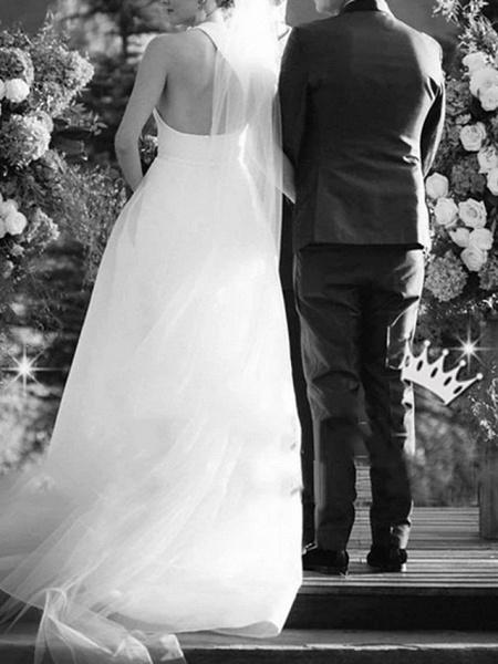 A-Line Wedding Dresses Jewel Neck Sweep \ Brush Train Satin Regular Straps Plus Size_3
