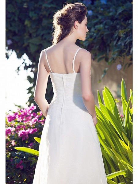 A-Line Wedding Dresses V Neck Asymmetrical Organza Spaghetti Strap_6