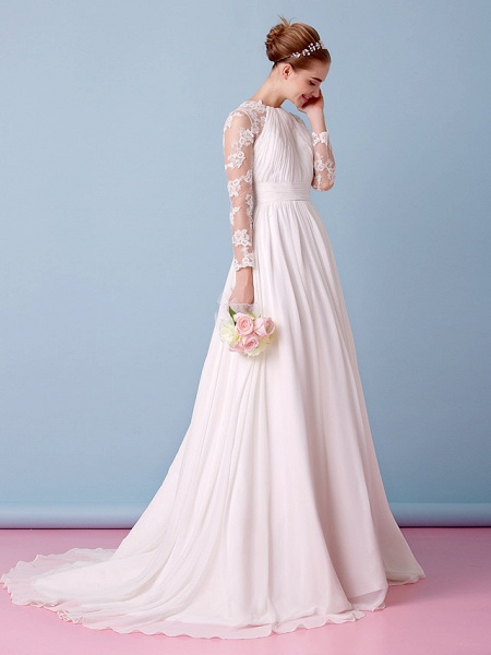 A-Line Jewel Neck Sweep \ Brush Train Chiffon Sheer Lace Long Sleeve Simple Boho Little White Dress See-Through Illusion Sleeve Wedding Dresses_8