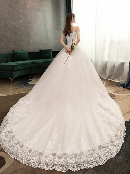 Ball Gown Wedding Dresses Off Shoulder Watteau Train Lace Tulle Polyester Short Sleeve Romantic_3