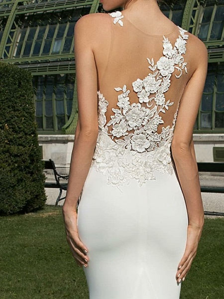Mermaid \ Trumpet Wedding Dresses Jewel Neck Court Train Satin Regular Straps Country Sexy Illusion Detail Backless_2