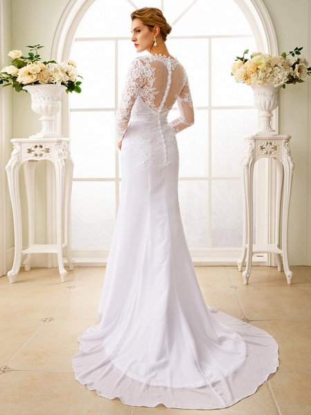 Mermaid \ Trumpet Wedding Dresses V Neck Court Train Chiffon Floral Lace Long Sleeve Sexy See-Through Backless Illusion Sleeve_3