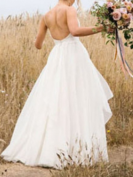 A-Line Wedding Dresses V Neck Floor Length Chiffon Sleeveless Simple_5