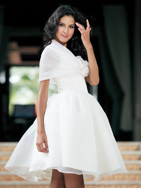 Ball Gown Wedding Dresses Square Neck Knee Length Organza Taffeta Regular Straps Little White Dress_5