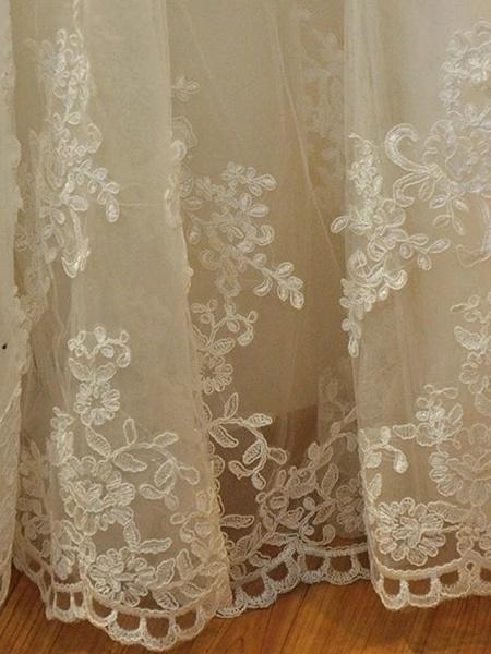 Mermaid \ Trumpet Wedding Dresses Strapless Court Train Lace Organza Stretch Satin Sleeveless Formal_5