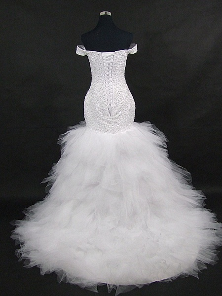 Mermaid \ Trumpet Off Shoulder Court Train Tulle Sequined Strapless Glamorous Vintage Sparkle & Shine Wedding Dresses_5