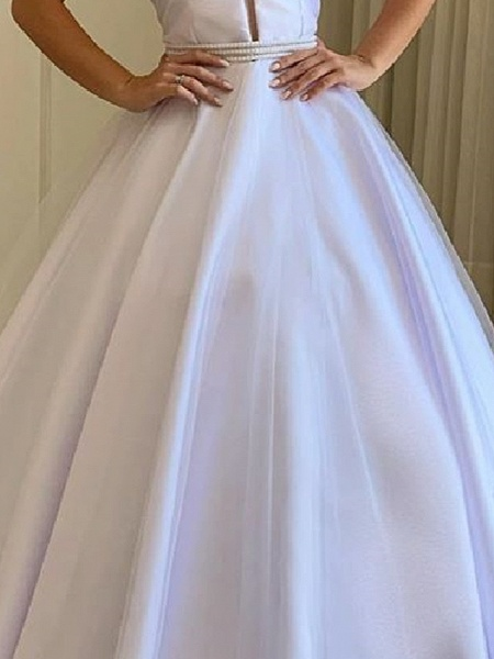 A-Line Wedding Dresses Off Shoulder Sweep \ Brush Train Tulle Polyester Short Sleeve Country Plus Size_3